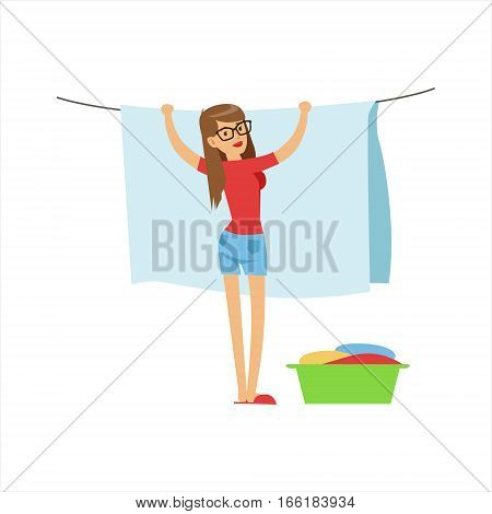 Woman Housewife Hanging Wet Laundry On The String Outdoors, Classic Household Duty Of Staying-at-home Wife Illustration. Smiling Female Character And Her Domestic Affairs Vector Drawing.