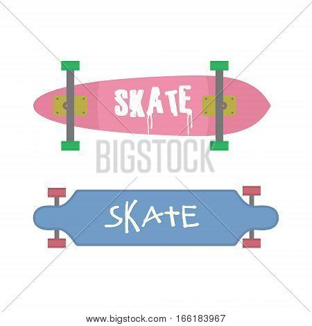 Skateboards set isolated. Flat design skateboards with lettering