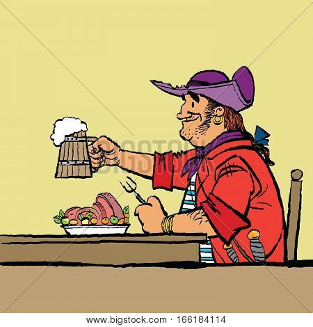 Brave pirate is eating in the tavern. Cartoon hand drawing illustration. Beer and meat
