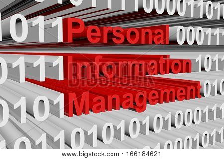 Personal information management in the form of binary code, 3D illustration