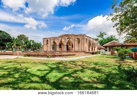 historical monuments mosque and ancient remains in name Kru Se which is made of bricks with round pillars Pattani Southern Thailand