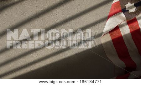 National Freedom Day. Usa Flag and Gate Shadow on Concrete Wall