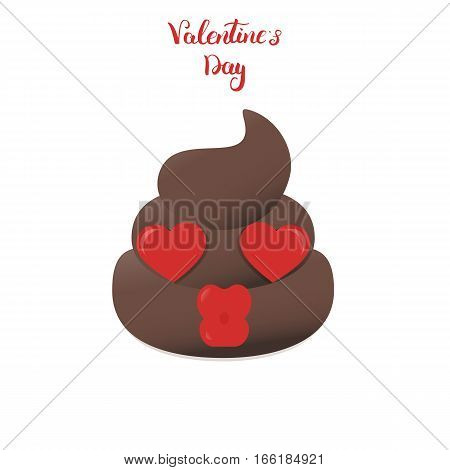 Valentines poo emoticon. Shit cartoon emoji character