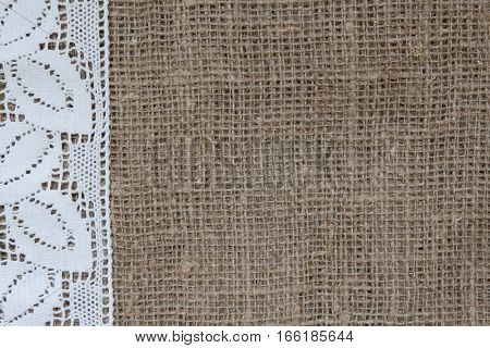Natural background in rustic old style of eco material with lace