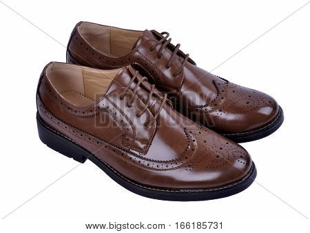 men's  fashion shoes brown isolated on white background.
