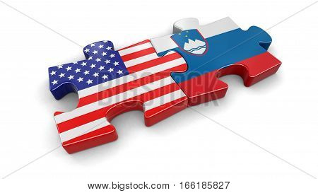 3D Illustration. USA and Sloven puzzle from flags. Image with clipping path