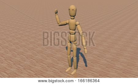Wooden puppet on a dark parquet. The puppet say hello.