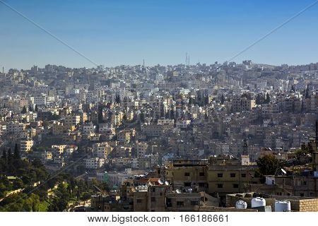 JORDAN, AMMAN - 12 JANUARY 2017: Panorama of Amman, Jordan's capital: JANUARY 12, 2017 in Jordan. Amman