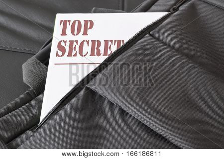 Open briefcase with some documents in it. A paper with the title TOP SECRET written on it. Empty copy space for Editor's text.