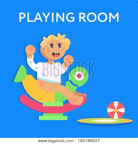 Little child todler baby character sitting on the toy and playing. Flat design vector illustration. Playing room for children concept. Vector art.