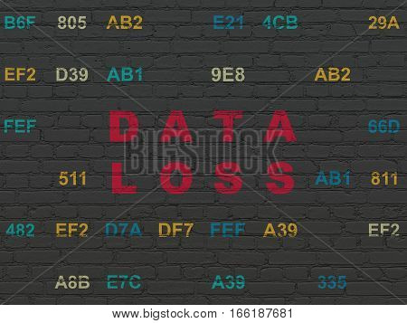 Data concept: Painted red text Data Loss on Black Brick wall background with Hexadecimal Code
