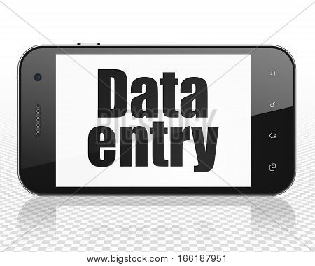 Data concept: Smartphone with black text Data Entry on display, 3D rendering