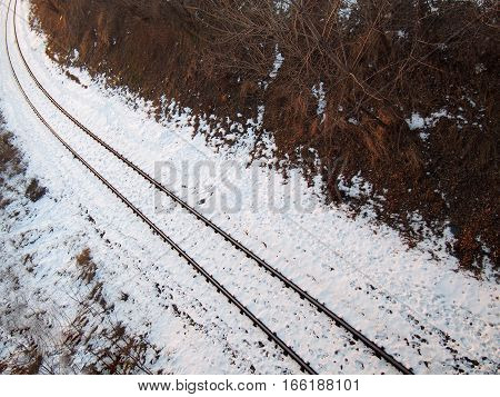 High angle view on railtrack and snow