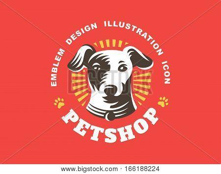 Dog head logo - vector illustration, emblem design on red background