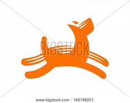 Dog vector illustration, emblem design on white background