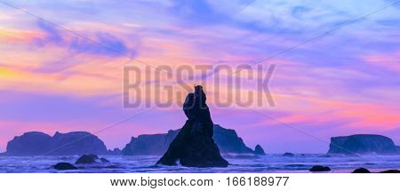 View of the sunset at the Pacific Ocean
