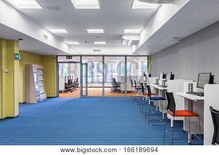 University Interior With Computer Area