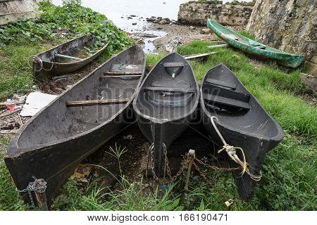 old wood dugout canoes in Portobelo Panama