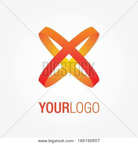 Abstract colorful logo, with crossing orange and red lines. Generic vector logo template.