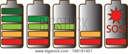 Five AA batteries with different charge levels, vector on a transparent background. Latest with inscription of SOS!