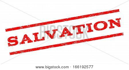 Salvation watermark stamp. Text caption between parallel lines with grunge design style. Rubber seal stamp with dust texture. Vector red color ink imprint on a white background.