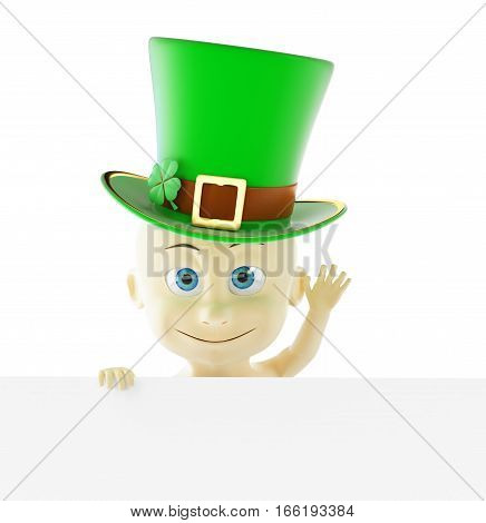 Baby in the cap of St. Patrick's day green hat 3D illustration on a white background
