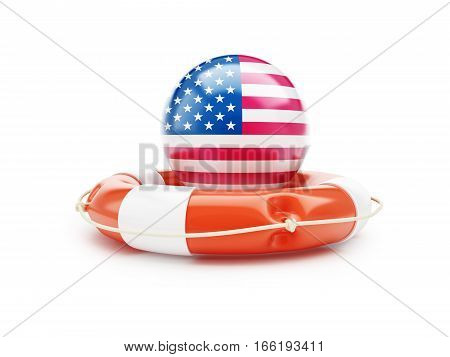 lifeline with USA flag 3D illustration on a white background
