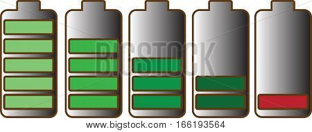Five AA batteries with different charge levels, vector on a transparent background.
