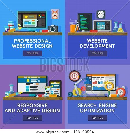 Set banners in flat style. Website and apps development. Web design. Web banners and website elements templates. Programming and coding. Search optimization SEO. responsive and adaptive design
