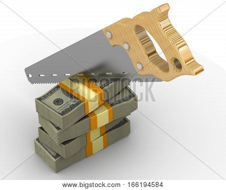 Cutting funding. Stack of packs of 100 dollar American bills tied with a ribbon and sawn with a hacksaw. Isolated. 3D Illustration