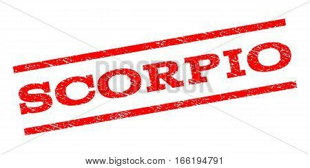 Scorpio watermark stamp. Text tag between parallel lines with grunge design style. Rubber seal stamp with dirty texture. Vector red color ink imprint on a white background.