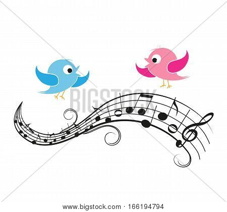 Vector illustration of a music background with birds, musical notes