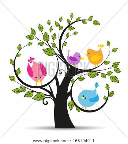 Vector illustration of a tree with a birds on a white background