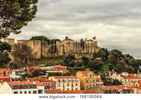 Lisbon fortress of Saint George view Portugal (Castelo de Sao Jorge)