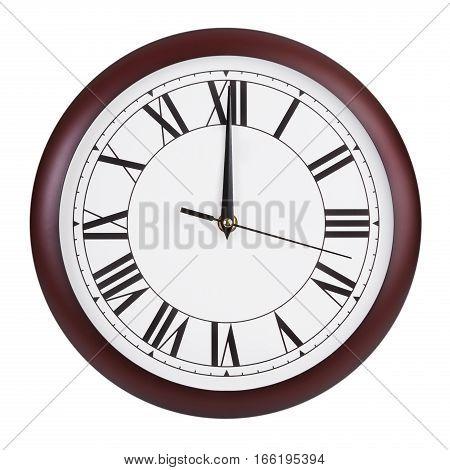 Twelve o'clock on a big round dial