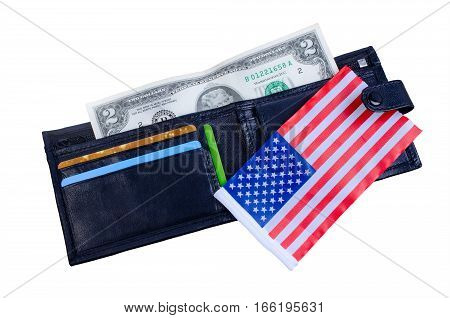 One banknote two dollars black purse and an American flag. On a white background. Isolated.