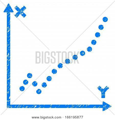 Function Plot grainy textured icon for overlay watermark stamps. Flat symbol with dust texture. Dotted vector blue ink rubber seal stamp with grunge design. Designed with round dots.