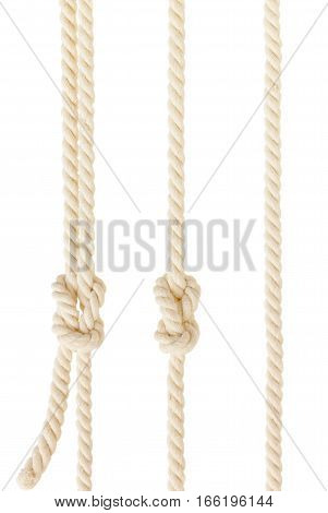 three ship ropes with two knot isolated