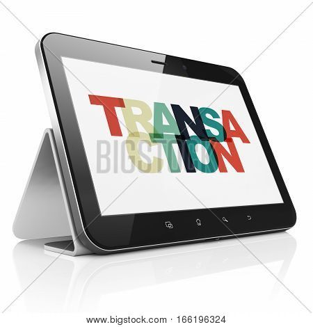 Currency concept: Tablet Computer with Painted multicolor text Transaction on display, 3D rendering