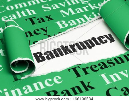 Banking concept: black text Bankruptcy under the curled piece of Green torn paper with  Tag Cloud, 3D rendering