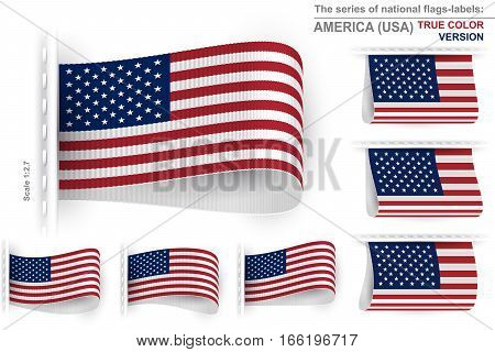 National state flag of United States of America with true colors; Sewn clothing label tag; The great symbol of the national patriotic pride and the concept of political power; Vector set of flags of USA Eps10;