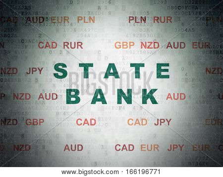 Banking concept: Painted green text State Bank on Digital Data Paper background with Currency