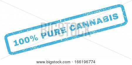 100 Percent Pure Cannabis text rubber seal stamp watermark. Tag inside rectangular shape with grunge design and dirty texture. Inclined vector blue ink sign on a white background.