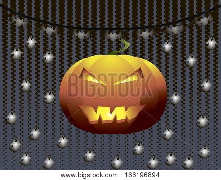 Pumpkin on lightened ghosts silhouette background. Halloween spooky card. Vector