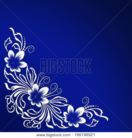 White floral ornament corner on a blue background. Decorative element for wedding invitations greeting holiday cards tissues handkerchiefs neckerchiefs