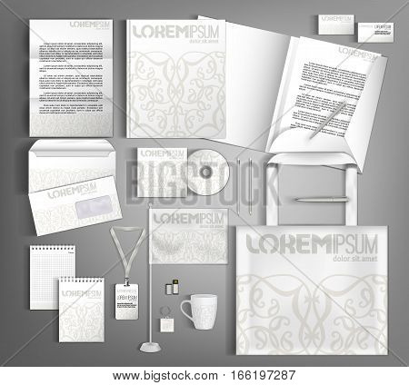 White corporate identity template design with floral pattern. Business set stationery.  Vector company style for brandbook and guideline.