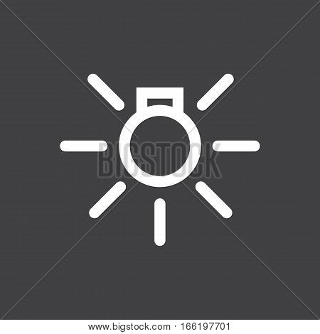 Vector illustration of a sign on the car dashboard on a gray background. The icon indicates inclusion of external illumination. Design of button
