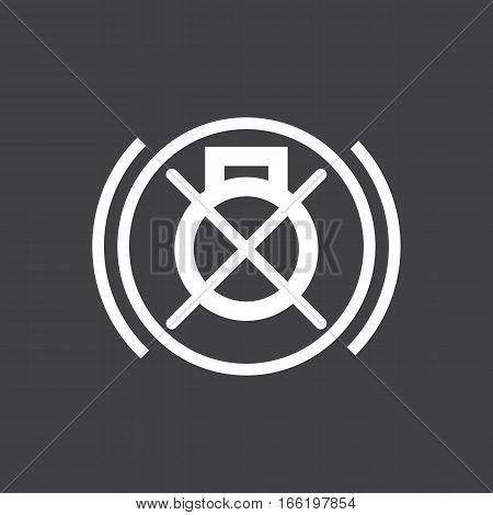 Vector illustration of a sign on the car dashboard on a gray background. The icon indicates non-working brake light. Design of button