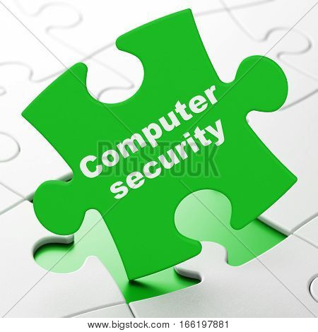 Security concept: Computer Security on Green puzzle pieces background, 3D rendering