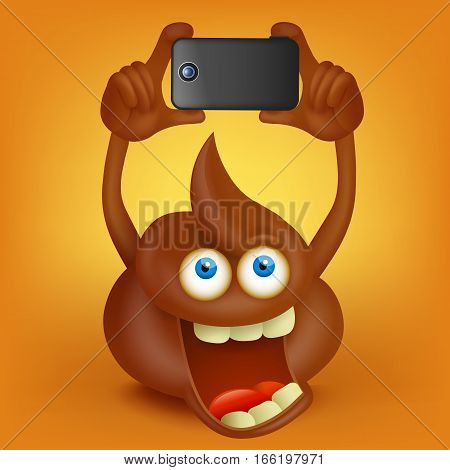 Funny poop cartoon character making photo with smart phone Vector illustration